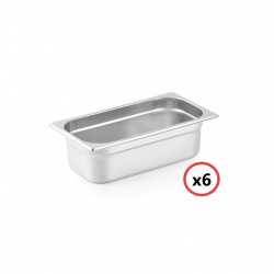 PACK 6 CUBETAS GASTRONORM ACERO INOX GN1/3-40 MM GN-IN-X6